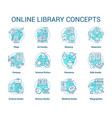 online library turquoise concept icons set book vector image