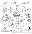 outline marine set birds and fish vector image vector image
