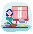 people cooking woman with juice jar vegetables in vector image vector image