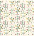 seamless pattern with yellow and red cherry vector image vector image