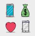 set business icons mobile app vector image