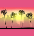 sunset and tropical palm trees with city vector image
