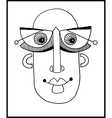 unusual hand draw with a male face portrait in vector image vector image