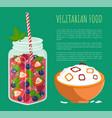 vegetarian food poster detox diet concept vector image