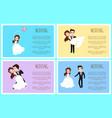 wedding celebration groom and bride posters set vector image vector image