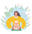 woman is going to eat a huge cake vector image vector image