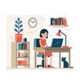 woman working on laptop sitting on chair at desk vector image