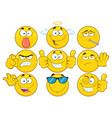 yellow cartoon emoji face collection - 3 vector image vector image