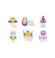 yoga studio logo set healthy life center hand vector image vector image