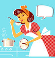 young portrait of housewife in retro fashion vector image vector image