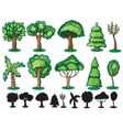 Trees and Silhoutte of trees vector image