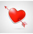 3d red heart pierced with an arrow vector image vector image