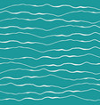 abstract ocean wave design with hand drawn white vector image
