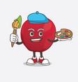 apple cartoon mascot character painter style vector image vector image