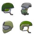 army helmet soldier icon set cartoon style vector image