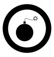 bomb icon black color in circle vector image vector image