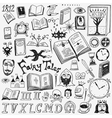 books doodles set vector image vector image