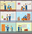 boss supervising new workers at job businessman vector image vector image