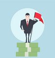 businessman standing on growth money stairs vector image vector image