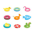 cartoon color swimming ring toy set vector image