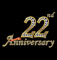 celebrating 22th anniversary golden sign vector image vector image