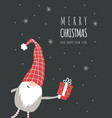 christmas card with cute nordic gnome in red hat vector image vector image