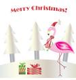 christmas flamingo - merry christmas card vector image vector image