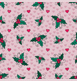 christmas seamless background with mistletoe and vector image