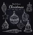 christmas toys set on chalkboard hand drawn vector image vector image