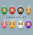 colored japan daruma monk dolls vector image