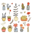 Colorfulhand drawn collection of plants vector image vector image