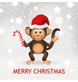 cute chimpanzee little monkey with santa hat merry vector image vector image