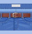 denim pants with leather belt vector image