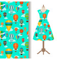 dress fabric pattern with air balloons vector image vector image