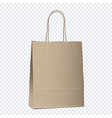 empty shopping brown bag on transparent background vector image