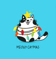 fat cat act to be christmas tree with colorful vector image vector image