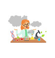 girl scientist after a failed experiment vector image vector image