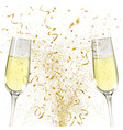 glasses champagne and golden confetti vector image vector image