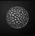 global connections metallic sphere on dark vector image