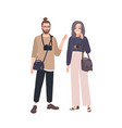 happy funny man and woman photographers isolated vector image vector image