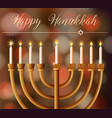 happy hanukkah card template with candlelights vector image vector image