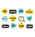hashtag social banners trendy blog slang logos vector image