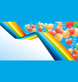 holiday banner with a rainbow and balloons vector image vector image