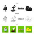 isolated object of traditional and tour icon set vector image vector image
