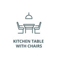 kitchen table with chairs line icon linear vector image vector image