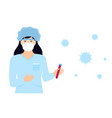 laboratory assistant in protective suit and mask vector image vector image