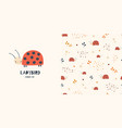 ladybirds seamless pattern and surface design vector image
