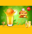 orange in juice splashes ads background vector image vector image