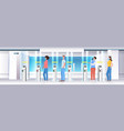 people going trought turnstile in subway vector image vector image