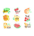 percent fresh juice promo signs colorful set vector image vector image